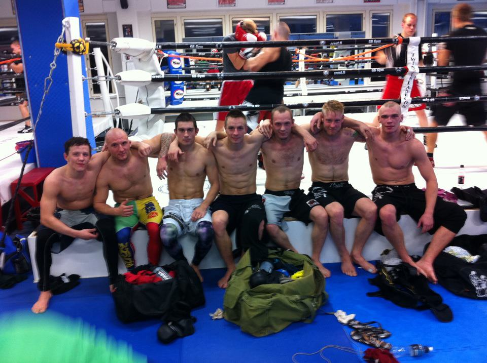 Silander (3rd from right) and Salovaara (4th from right) with GB Gym and FinnFighters Gym fighters after a sparring session at the GB Gym in Helsinki