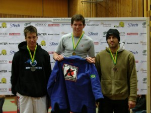 A picture from a BJJ competition in 2006. Magnus Cedenblad to the left, Mats Nilsson in the middle and Denmarks Joachim Christensen to the right