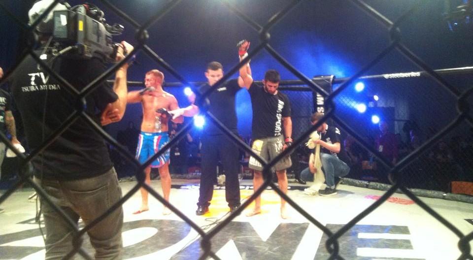 Sirwan Kakai stops a game Carl Fawcett at The Zone 13.