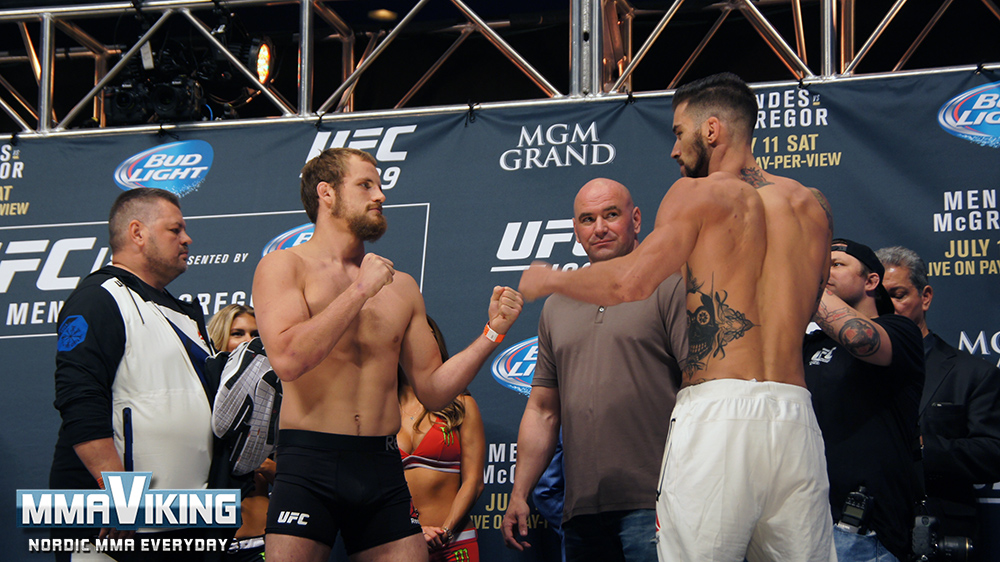 Nelson and Thatch at UFC 189 Weigh-Ins
