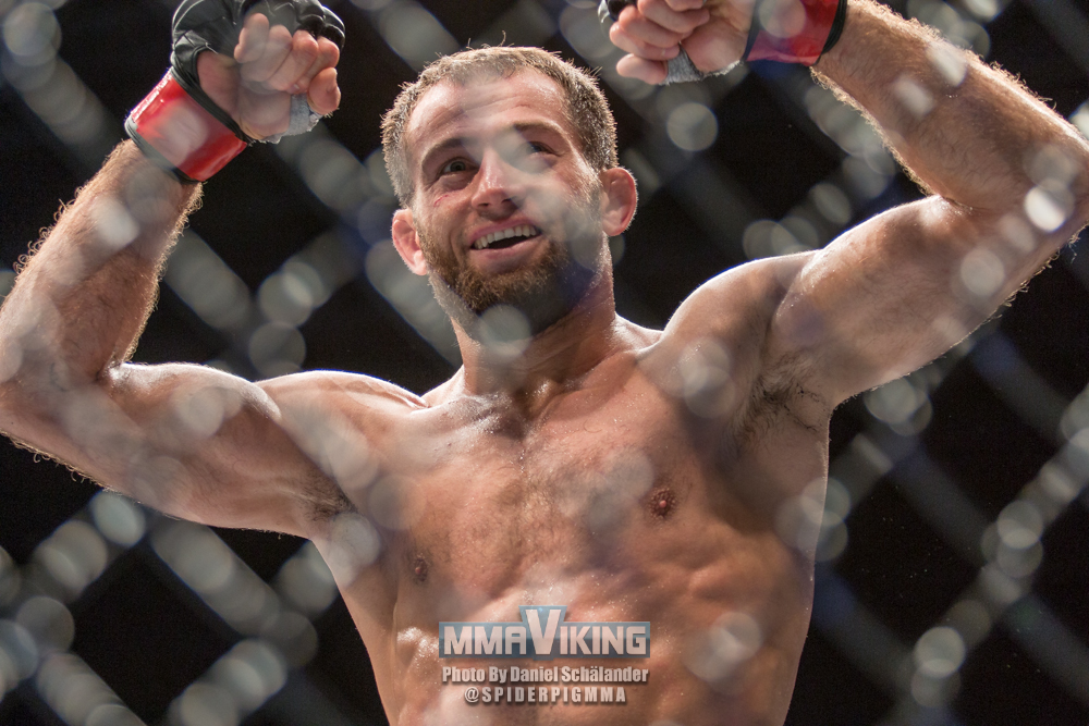 Taisumov after knocking out Alan Patrick Solva Alves in at UFC Fight Night 69 in Berlin