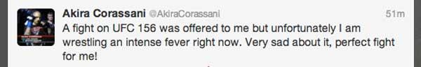 Corassani Can't Take UFC 156 Fight