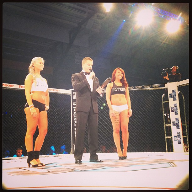 Cage 23 announcer and ring girls launching the show