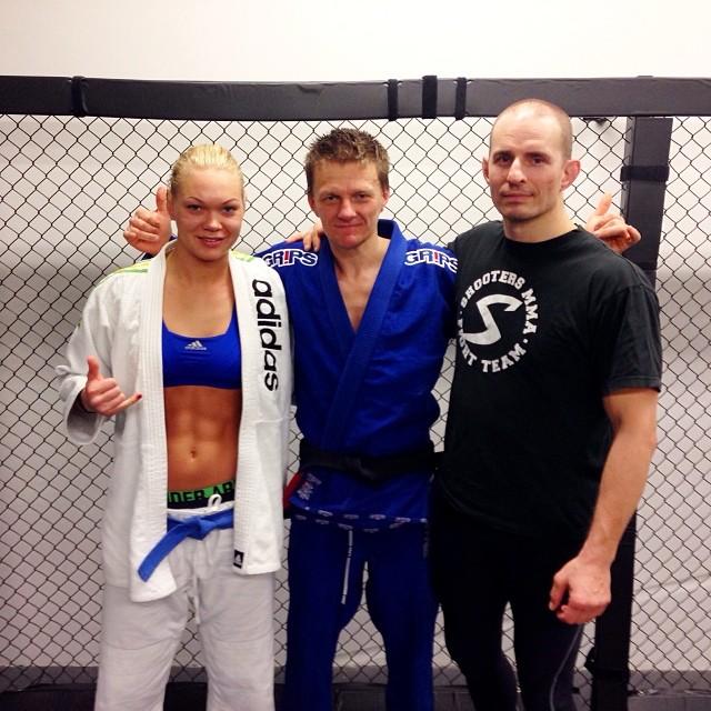 Lisa Pihl with Ariel Striim and Coach August Wallén.