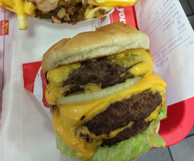 The 4 Patty and 8 Pieces of Cheese Burger (Photo by Nilsson)