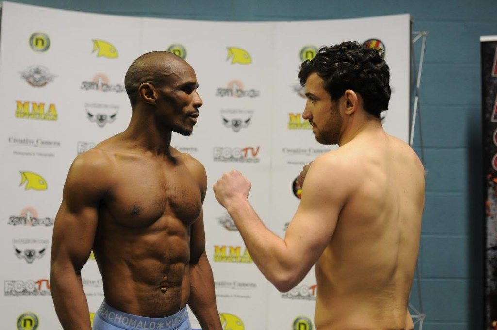 Martin Fouda and Aaron aby at the Full Contact Fighter 15 weigh-ins.